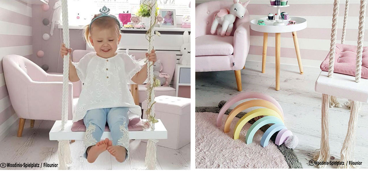 filounior - Schaukel Kinderzimmer aus Holz - Indoor Schaukel
