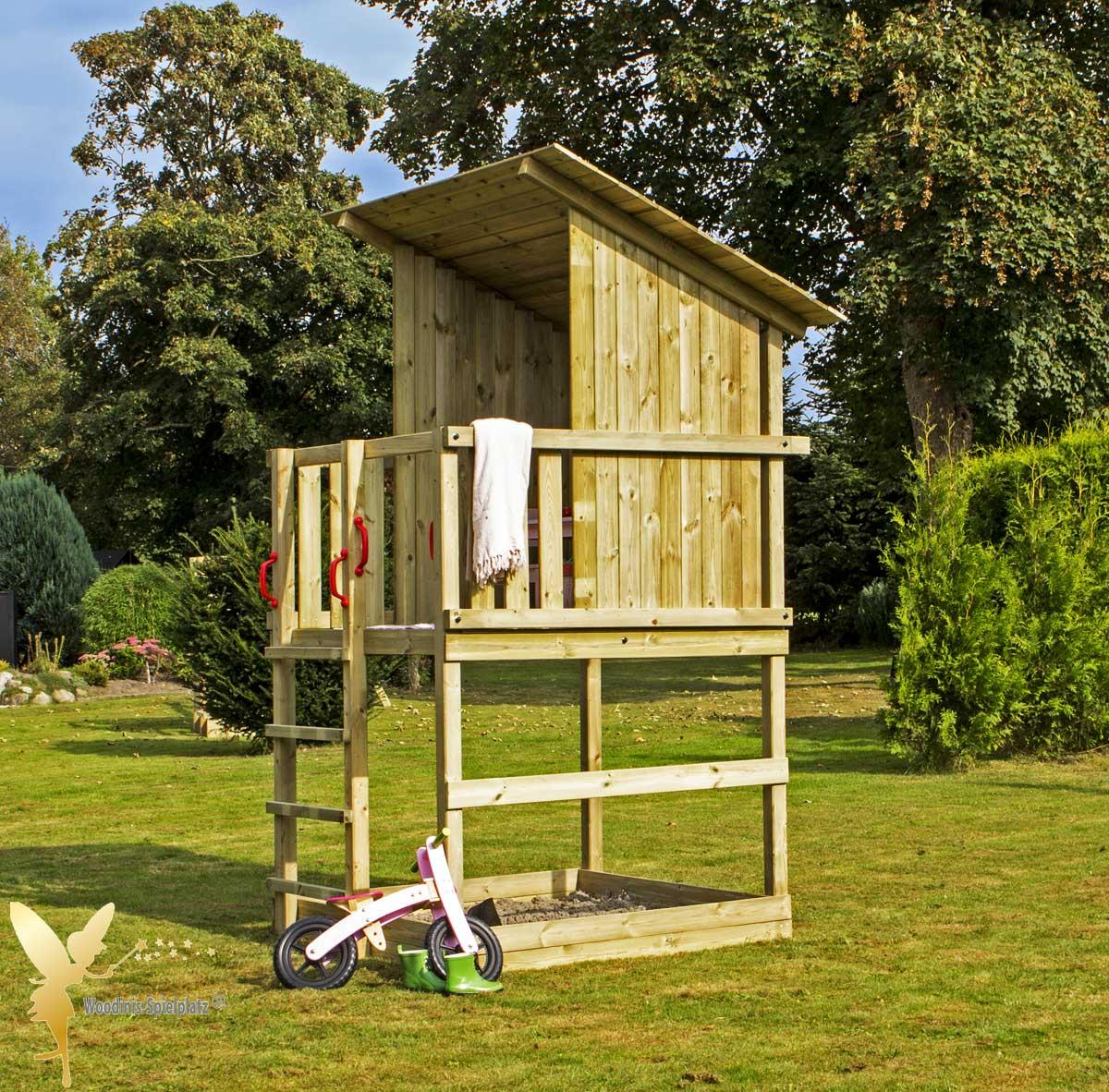 Top filounior - Spielturm / Holz Spielhaus RAVEN mit Sandkasten UM68